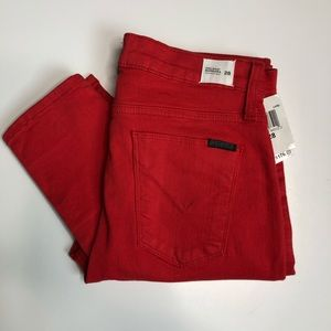 Hudson NWT $176 Red high waist super skinny ankle